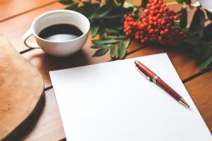pen paper coffee - 0HFF1UYS9S