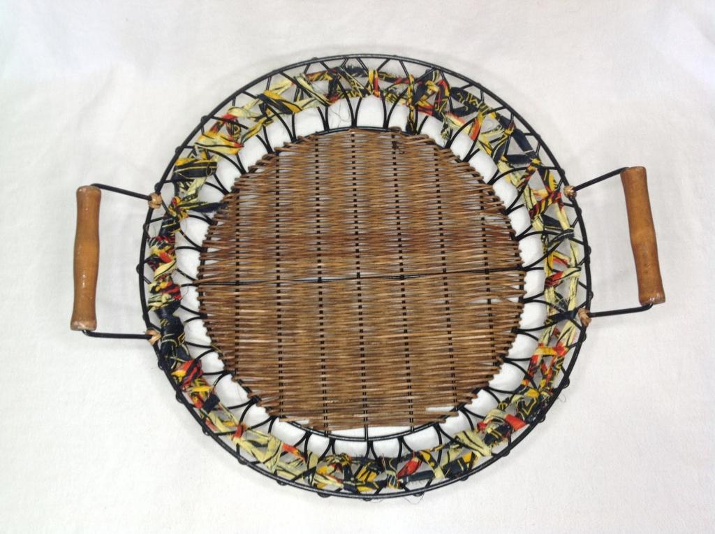 Afrocentric Cane Flat Tray Basket